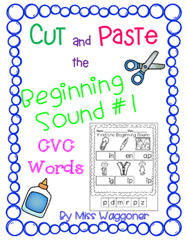 No Prep Cut and Beginning Sound CVC Words #1