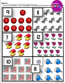 No Prep Cut and Paste Math Worksheets Numbers 1-20