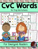 No Prep CvC Words Worksheets