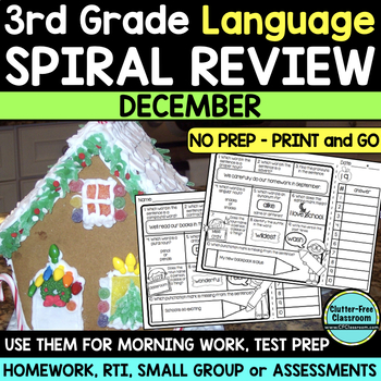 3RD GRADE Homework Morning Work for LANGUAGE & GRAMMAR - DECEMBER NO PREP