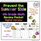 No Prep DIGITAL Fourth Grade Math Skills Review- Prevent the Summer Slide