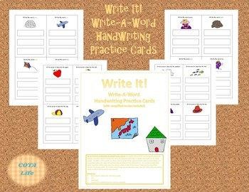 DIFFERENTIATED Write It! A-Z Picture Write-A-Word Handwriting Practice Cards
