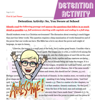 No Prep Detention Activity: So, You Swore at School