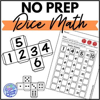 No Prep Dice Math Printable Center or Workbox