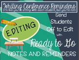 No Prep Writers Workshop Conference Notes and Reminders: Editing Focus