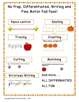 No Prep, Differentiated, Writing and Fine Motor Fall Pack!Pre-k,k,1,2 special ed