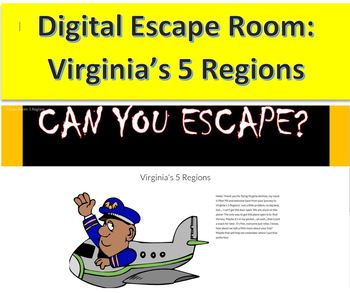 No Prep Digital Escape Room: Products and Industries of Virginia's 5 Regions