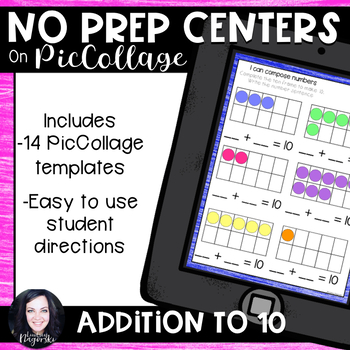 No Prep Digital Math Centers for Pic Collage and Seesaw Addition to 10