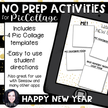 No Prep Digital New year Acivities for Pic Collage