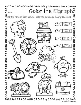 No Prep: Digraphs Coloring Picture Match Activity Sheets (ch- / sh- / th- / wh-)