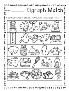 No Prep: Digraphs Picture Match Activity Sheets ( ch- / sh- / th- / wh- )