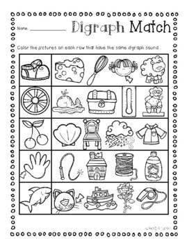 No Prep: Digraphs Picture Match Activity Sheets ( ch- / sh