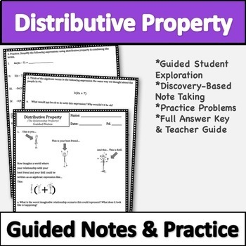 No Prep Distributive Property Notes!! Distributive Property Lesson and Practice