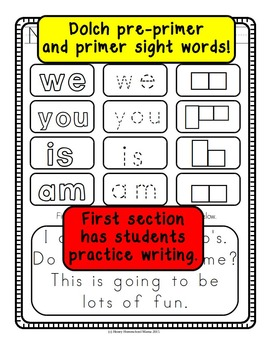No Prep Dolch Sight Word Worksheets - Pre-primer and Primer Words!