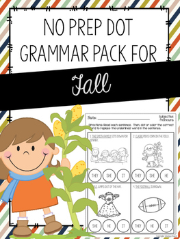 No Prep Dot Grammar Pack for Fall