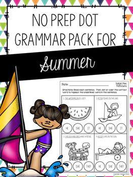 No Prep Dot Grammar Pack for Summer