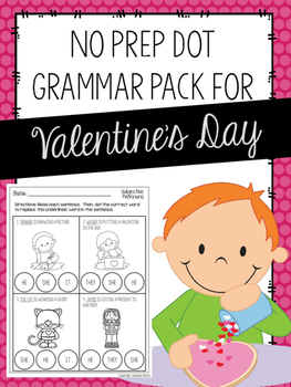 No Prep Dot Grammar Pack for Valentine's Day