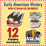 No Prep EARLY US HISTORY BUNDLE  - 12 Word Search Puzzle Worksheets