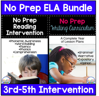 No Prep ELA Curriculum Bundle For 3rd-5th grade Intervention