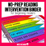 Reading Intervention Binder for Beginning Readers No Prep ELA