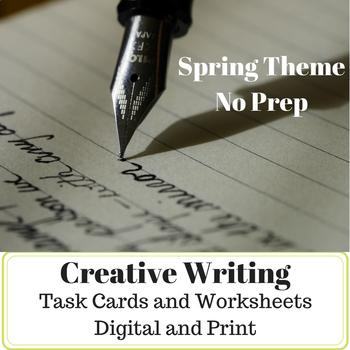 No Prep - ELA - Creative Writing Print & Digital Task Cards and Worksheets