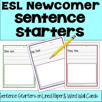 ESL Newcomer Sentence Starters Activities - No Prep!