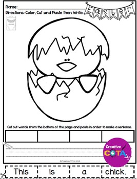 No Prep Easter Coloring and Sentence Writing Practice