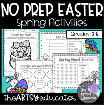 No Prep Easter -- Spring/April [Math, Literacy, & Fun Pages! 1st & 2nd]