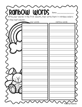 No Prep - Easter Word Work - Word Study / Spelling / Sight Words