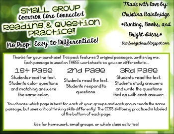 No Prep, Easy to Differentiate Small Group Passages RL for gr. 2 and 3!