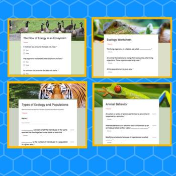 Ecology & Animal Behavior Self-Grading Worksheets and Test (Distance Learning)