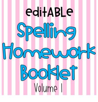 No Prep Editable Weekly Spelling Homework Booklet