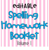 No Prep Editable Weekly Spelling Homework Booklet