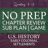 No Prep Emergency Sub Plans High School BJU U.S. History Class - Early Colonies