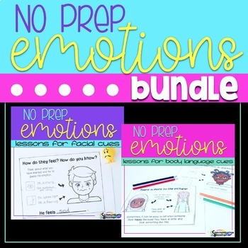 No Prep Feelings and Emotions Body Language and Facial Expressions BUNDLE