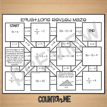 No Prep Equations Review Maze