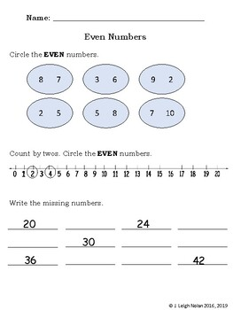 No Prep - Even and Odd Numbers Packet