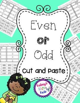 No Prep Even or Odd Cut and Paste Worksheets