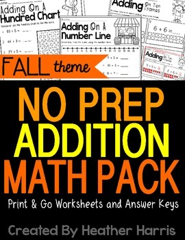 No Prep FALL Addition Pack