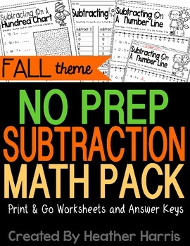 No Prep FALL Subtraction Pack