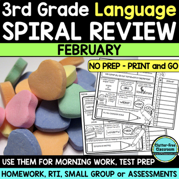 3RD GRADE Homework Morning Work for LANGUAGE & GRAMMAR - FEBRUARY NO PREP