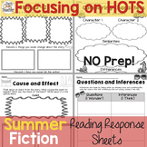 Reading Response Sheets for FICTION  (HOTS): Summer Editio