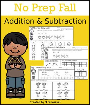 No Prep Fall Addition & Subtraction