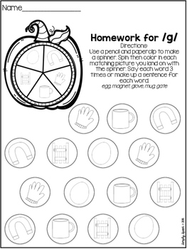 No Prep Fall Articulation Homework