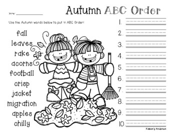 No Prep: Fall - Autumn ABC Order