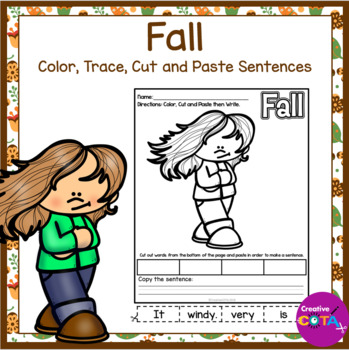 No Prep Fall Color, Cut and Paste Sentences