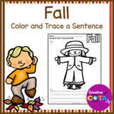 No Prep Fall Color and Trace Sentence Writing Worksheets