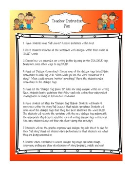 Teaching Quotations Dialogue Writing Unit with Fall Story
