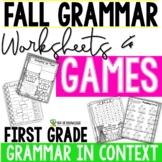 Fall Grammar Printables Grades 1-2