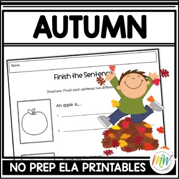 No Prep Fall Literacy Activity Packet
